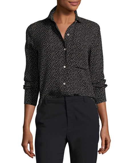 Celestial Polka-Dot Slim Fit Blouse