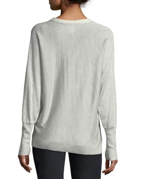 Sequin-Trimmed Italian Silk Dolman Pullover