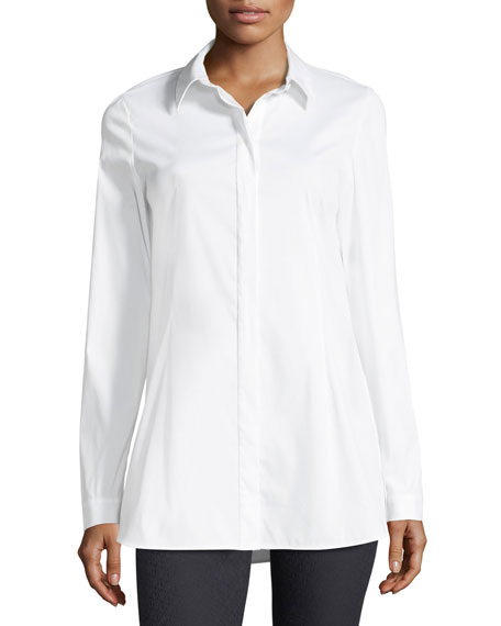 Jake Stretch-Cotton Button-Front Blouse