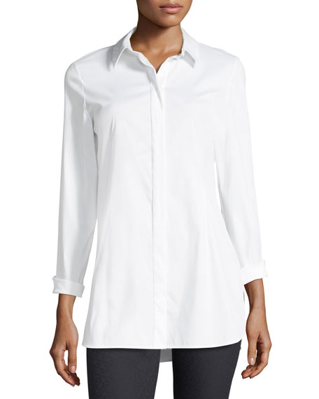 Lafayette 148 New York Jake Stretch-Cotton Button-Front Blouse
