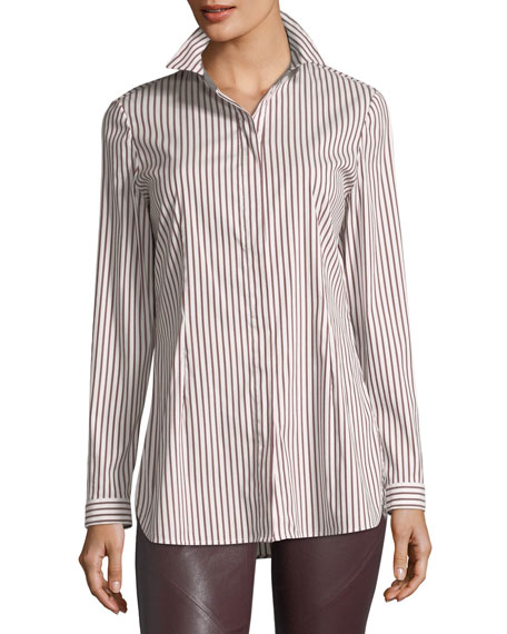 Lafayette 148 New York Jake Supreme Striped Button-Front