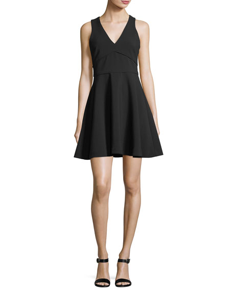 Bunker Sleeveless V-Neck Fit-and-Flare Cocktail Dress