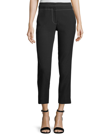 ELIZABETH AND JAMES Phillip Cropped Straight-Leg Pants W/ Topstitching, Black