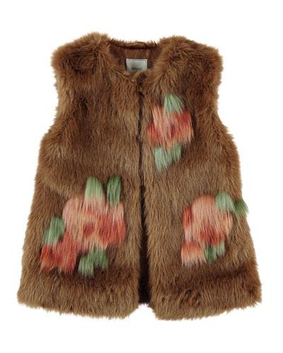 Faux-Fur Floral Vest, Size 8-16