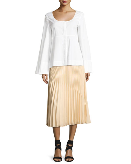 Yolanda Sunburst Pleated A-Line Skirt