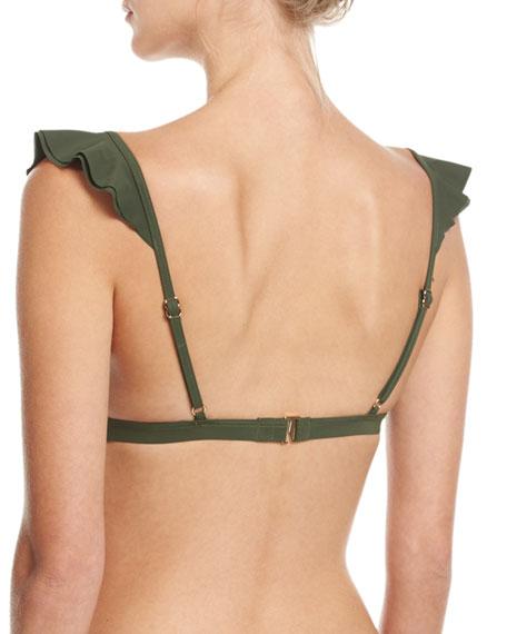 V-Neck Ruffled Bikini Swim Top