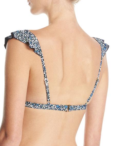 Ruffle Ditsy-Floral Bikini Swim Top