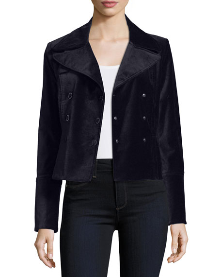 Elie Tahari Regina Double-Breasted Velvet Jacket