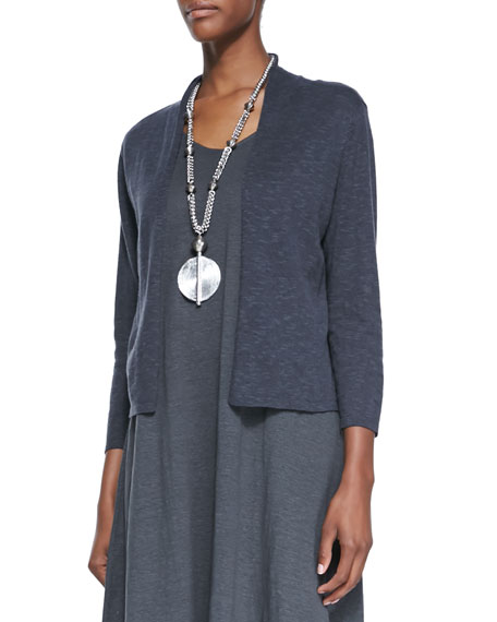 Eileen Fisher 3/4-Sleeve Slub Cropped Cardigan, Graphite