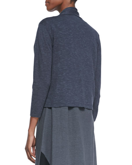 3/4-Sleeve Slub Cropped Cardigan, Graphite