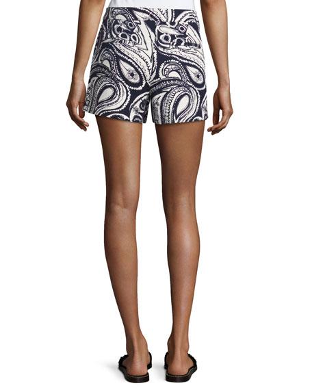 Columbus Avenue Paisley-Print Cotton Shorts