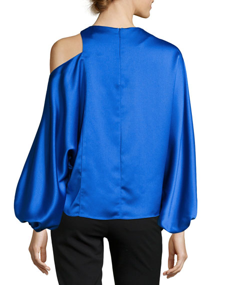 Celestia Cold-Shoulder Satin Top
