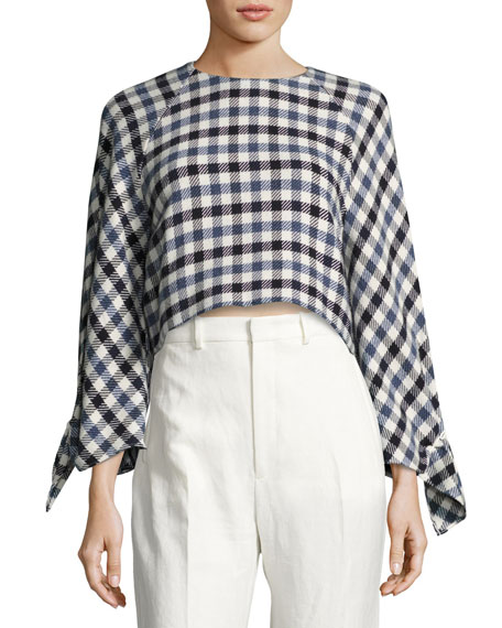 Tibi Fairfax Gingham Tie-Sleeve Top