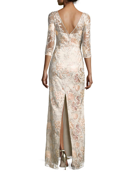 3/4-Sleeve Embroidered Column Gown, Blush Multi