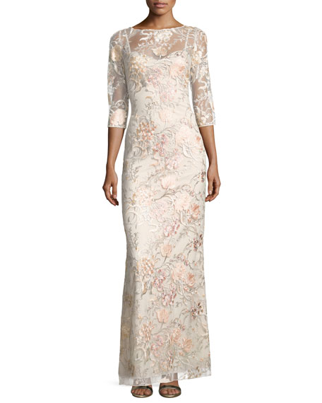 Aidan Mattox 3/4-Sleeve Embroidered Column Gown, Blush Multi