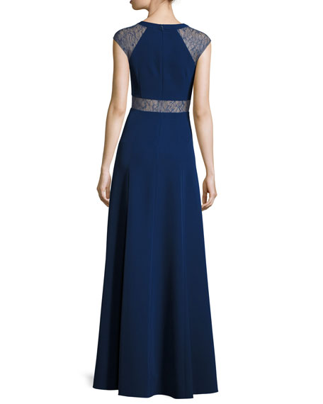 V-Neck Cap-Sleeve Lace-Trim Crepe Gown, Navy