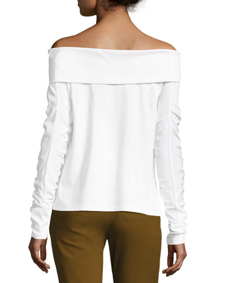 Mercerized Knit Off-the-Shoulder T-Shirt