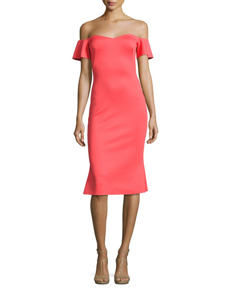 Xochi Off-the-Shoulder Cocktail Dress, Canyon Coral