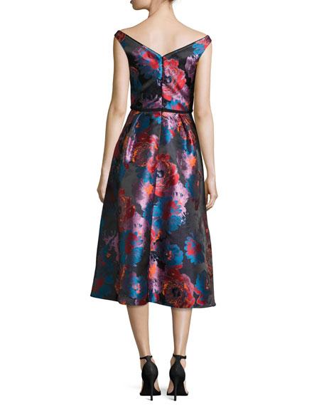 Takim V-Neck Metallic Jacquard Cocktail Dress, Night Canyon