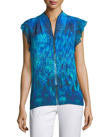 Elie Tahari Judith Flutter-Sleeve Printed Silk Blouse