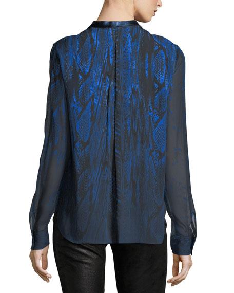Terri Long-Sleeve Pleated Snakeskin-Print Silk Blouse