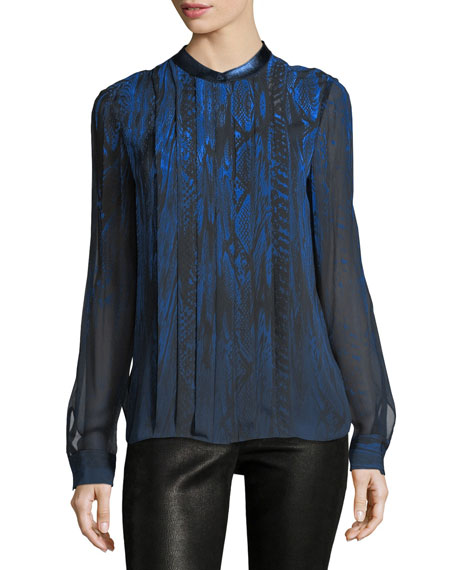 Elie Tahari Terri Long-Sleeve Pleated Snakeskin-Print Silk Blouse
