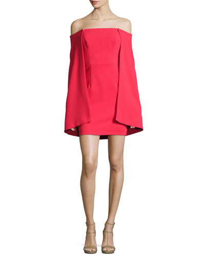 Laiken Off-the-Shoulder Cape-Sleeve Minidress, Chic Red