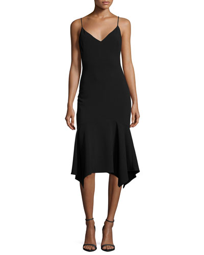 Malik Handkerchief-Hem Cocktail Slip Dress, Black