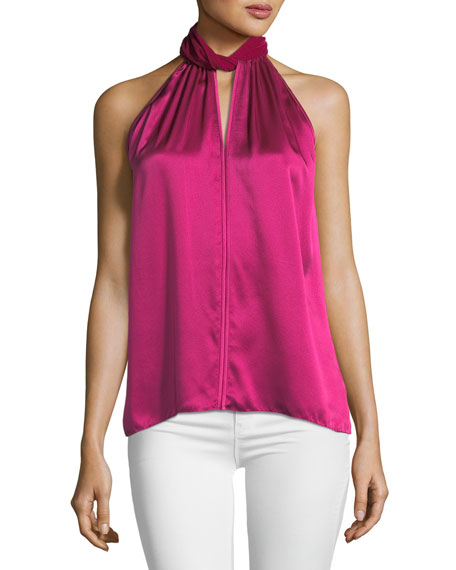 Elie Tahari Elastia Sleeveless Velvet-Trim High-Neck Silk Blouse
