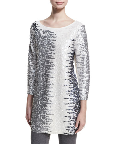 Sequined Boat-Neck 3/4 Sleeve Tunic, Petite