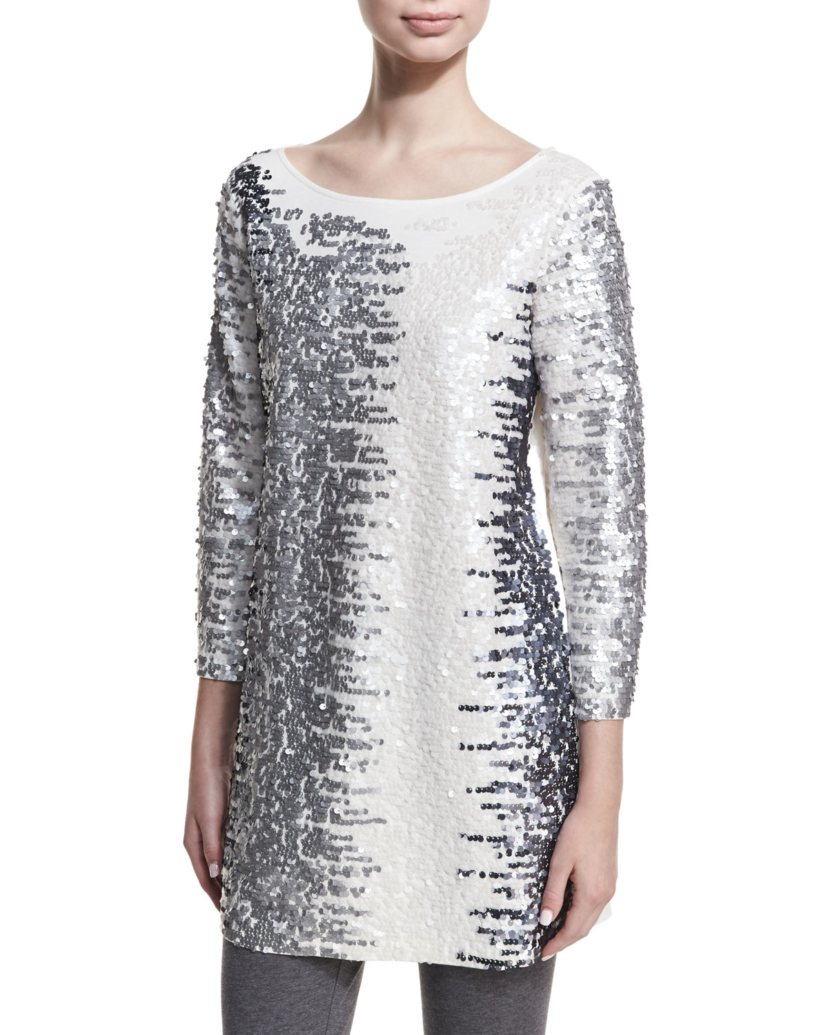 Joan Vass Plus Size Sequined Boat-Neck 3/4 Sleeve Tunic