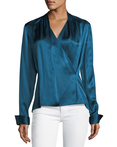 Shelly Long-Sleeve Surplice Silk Satin Blouse