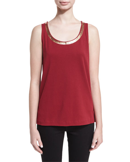 Joan Vass Scoop-Neck Sequin Trim Tank, Plus Size