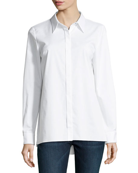 Elie Tahari Needra Button-Front Lurex??-Trimmed Blouse
