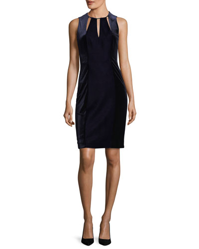 Jemra Sleeveless Velvet Sheath Dress, Deep Blue