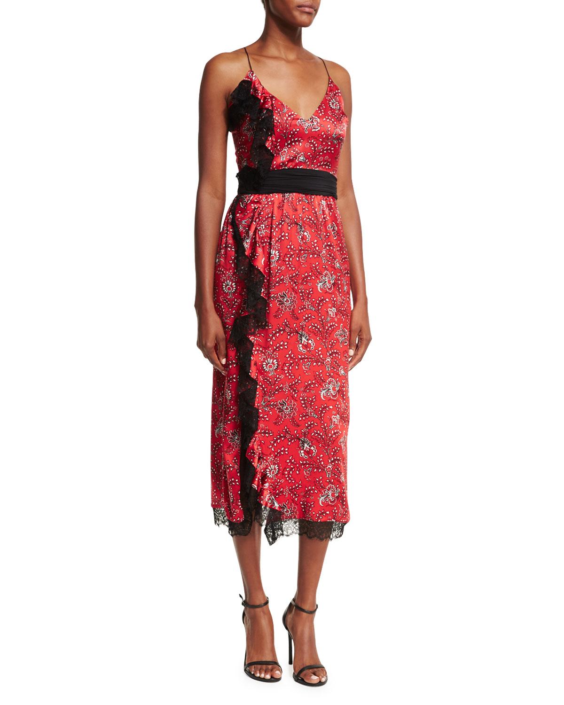 Cinq À Sept Woman Petra Lace-trimmed Printed Silk-satin Midi Dress Red Size 0 Cinq à Sept Clearance Classic Under 50 Dollars Discount Exclusive gtfA6TYya