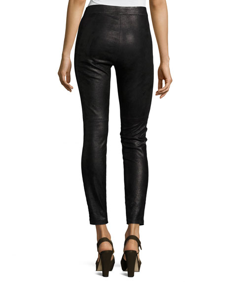 Roxanna Skinny Leather Pants, Black