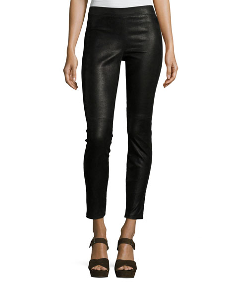 Elie Tahari Roxanna Skinny Leather Pants, Black