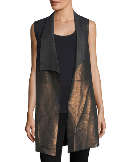 Elie Tahari Damina Long Metallic Leather & Jersey