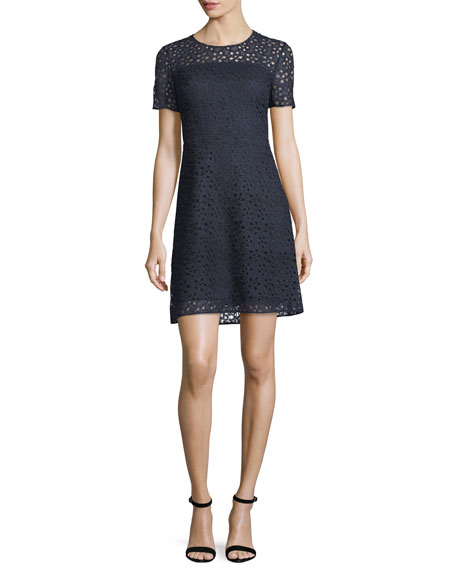 Elie Tahari Ophelia Short-Sleeve Starry Lace Dress