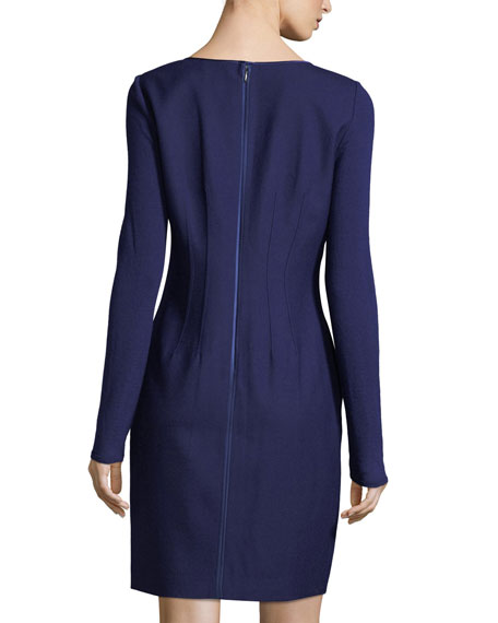 Iman Long-Sleeve Stretch-Wool Dress