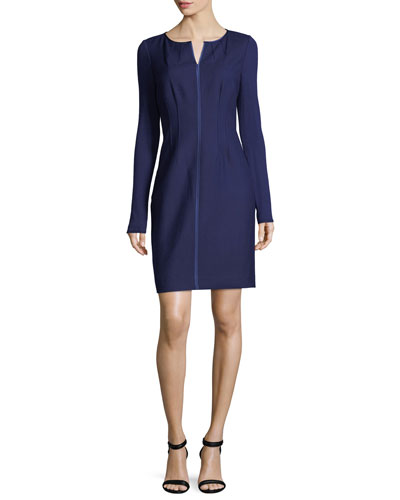 Iman Long-Sleeve Stretch-Wool Dress