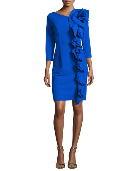 3/4-Sleeve Scuba Dress w/ Sculptural Side Ruffle