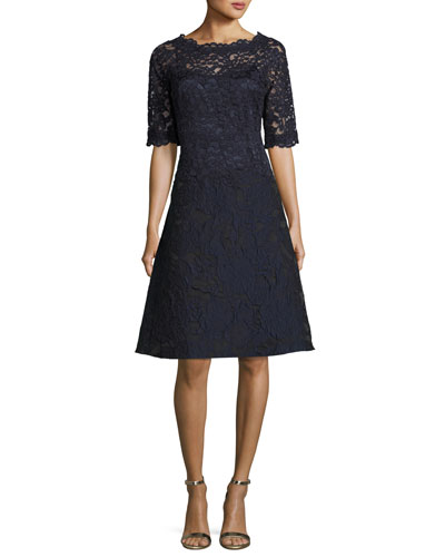 3/4-Sleeve Lace Fit-&-Flare Cocktail Dress, Navy