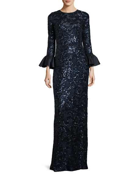 Sequined Lace Column Gown