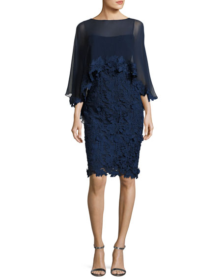 Lace Slip Dress w/ Embellished Cape Overlay