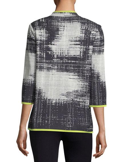 Notch-Collar Bold Border Jacket, Plus Size