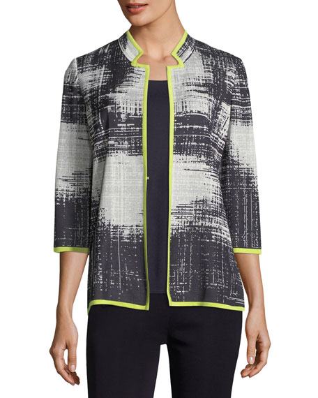 Misook Notch-Collar Bold Border Jacket, Plus Size