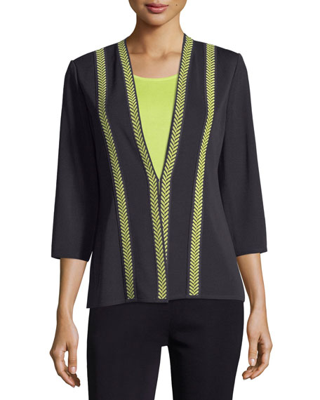 Herringbone Contrast-Trim Jacket, Plus Size