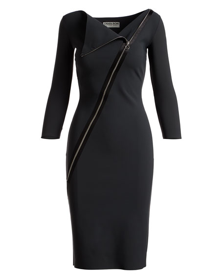 Dianthe 3/4-Sleeve Asymmetric Zip-Neck Cocktail Sheath Dress